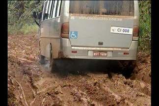 Atoleiros na rodovia Transamazônica dificultam tráfego de veículos no Pará - Motoristas precisam parar no acostamento e aguardar para conseguir passar pelos atoleiros. Caminhoneiros reclamam de atrasos nas viagens por conta das condições da estrada.