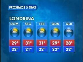 Próxima semana vai ser de tempo instável em Londrina - Veja a previsão do tempo no mapa.