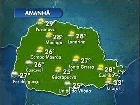 Deve chover amanhã na região de Curitiba - Mesmo assim o sol aparece e vai fazer calor.
