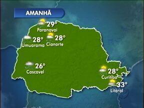 Previsão de chuva mais forte na região de Umuarama - A quinta-feira (21) deve começar com céu nublado e chuva forte.