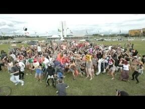 Mais de 200 pessoas participam de gravação de harlem shake na Esplanada dos Ministérios - O encontro, marcado através de uma rede social, reuniu os dançarinos para participar de um clipe inusitado produzido para a internet. Fantasias e até protestos puderam ser vistos durante o evento.