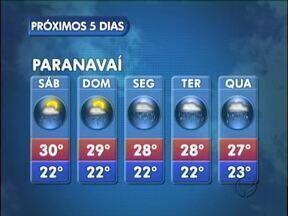 Previsão de mais chuva para este fim de semana em Paranavaí - Uma área de instabilidade provoca chuva no sábado e domingo.