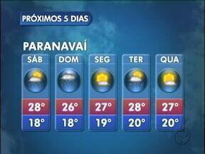 Previsão de chuva para o domingo em Paranavaí - Uma nova área de instabilidade volta a provocar chuva no domingo (24) na região noroeste.