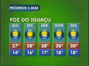 Feriadão da Páscoa será de tempo aberto em Foz do Iguaçu - O sol predomina nos próximos dias na fronteira e a mínima na cidade será de 14 graus.