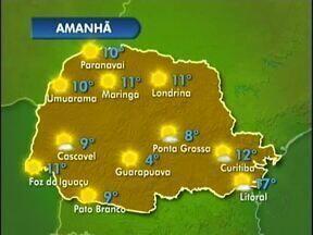 Sexta-feira será ensolarada no Paraná - A massa de ar seco que está sobre o estado mantém o tempo aberto. A sexta-feira começa com friozinho e segue com temperaturas amenas ao longo dia.