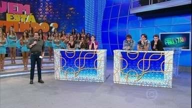 Protagonistas de Sangue Bom participam de novo quadro do Domingão - Eles tentam adivinhar quem está mentindo no palco do programa