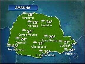 Tempo continua chuvoso amanhã no Paraná - No feriado de quinta-feira sol volta a aparecer