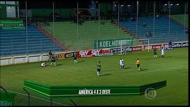 América-MG vence o Oeste por 4 a 3 - O Coelho confirmou o bom momento na Série B. Em Nova Serrana, venceu o Oeste com um gol aos 46 do segundo tempo. Esta é a terceira vitória seguida na competição.