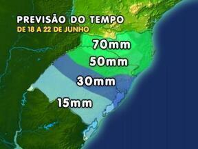 Chuva deve ser frequente no RS e em SC na próxima semana - Tempo deve permanecer úmido até o final da semana.