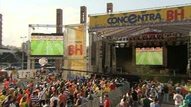Na Praça da Estação, em BH, torcida vibra com primeira vitória do Brasil - Concentra BH reuniu cerca de duas mil e quinhentas pessoas.