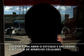 Loja de celulares é assaltada 5 vezes em Valparaíso de Goiás, entorno do DF - Ação dos criminosos deixou prejuízo de R$ 40 mil e foi filmada por câmeras do circuito interno (vídeo);