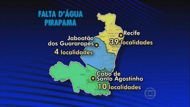 Obra da Compesa no sistema Pirapama deixa 540 mil pessoas sem água - Serviço vai durar dois dias e é para interligar da adutora de Pirapama ao reservatório de Jardim Muribeca, em Jaboatão.