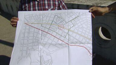 Construção do VLT vai mudar o trânsito do Centro de São Vicente - Ruas terão alterações e perderão faixa de estacionamento para dar lugar a ciclo-faixa
