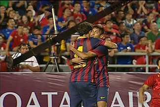 Neymar estreia como titular ao lado de Messei e marca primeiro gol pelo Barcelona - Atacante foi coadjuvante na partida, mas começa a se adaptar ao time espanhol.