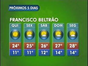 Semana segue com tempo aberto em Francisco Beltrão - No fim de semana as temperaturas ficam um pouco mais altas. A máxima será de 28 graus no domingo.