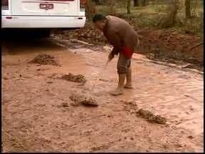 Transporte escolar fica prejudicado por barro na zona rural de Divinópolis - Quase cem alunos da escola rural ficaram sem o transporte.Ônibus que levava funcionários de uma empresa bateu no barranco.