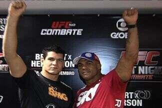 Lutadores de MMA divulgam evento em Goiânia - Fight Night 32 terá quatro lutas, sendo uma delas entre Vitor Belfort e Dan Henderson.