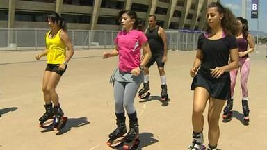 Praticantes de esportes radicais fazem demostração de patinação, skate e kangoo - Modalidades são sinônomo de adrelina e podem ser praticadas dentro das cidades.