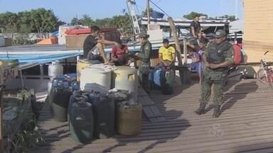 Batalhão Ambiental apreende combustível - O Batalhão Ambiental fez nova apreensão de combustível que seria transportado em barco.