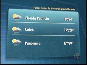 Terça-feira deve ter sol entre nuvens em Presidente Prudente - Em Flórida Paulista, as temperaturas podem chegar aos 24º C. Veja a previsão para outras cidades.