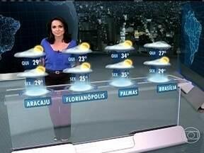 Norte e Sudeste devem ter muita chuva na quarta-feira (6) - A chuva mais forte vai se concentrar na faixa entre o Amazonas e o Rio de Janeiro por causa da umidade que cobre essa faixa. Em Brasília, as temperaturas sobem um pouco, apesar do tempo chuvoso.