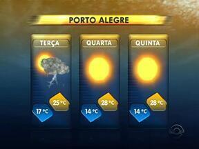 Terça-feira é de tempo instável neste terça-feira - A partir de quarta-feira, a previsão é de tempo seco.