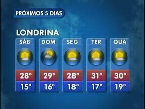 Sábado sem chuva em Londrina - Veja a previsão para os próximos dias no mapa.