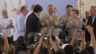 No Ceará, Dilma Rousseff dá ordem de serviço para linha de metrô e inaugura UPA 24 horas - Ela também citou criação de reserva indígena e avanços para construção da refinaria Premium II.