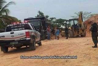Grupo é preso após ser flagrado extraindo areia de barranco em SE - Três pessoas foram detidas nesta sexta-feira (22), no município de Laranjeiras, região metropolitana de Aracaju por extração ilegal de minérios.