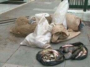 Polícia Ambiental prende três homens por pesca ilegal em Foz do Jordão - Além dos três homens, um adolescente foi apreendido. Com eles os policiais encontraram peixes, redes e objetos usados para pesca.
