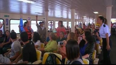Terceiro grupo canta sucesso 'Por Enquanto' na primeira fase da competição - Aila Menezes, Bruna Borges, Gabriella Matos e Maysa Ohashi se apresentaram nas barcas