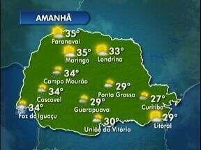 Calorão vai marcar o fim de semana em Londrina - Veja a previsão completa no mapa.