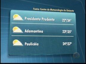 Sábado deve ser de sol no Oeste Paulista - Em Adamantina, temperaturas podem chegar aos 35º C.