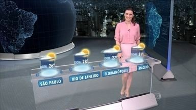 Previsão é de chuva em grande parte do Brasil no sábado (14) - Há previsão de temporal no Centro-Oeste, Goiás, Goiânia, Amapá, Amazonas, Espírito Santo, Minas, Bahia, Piauí e Maranhão. Não choverá em São Paulo e no Rio.