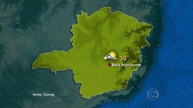 Quarta-feira de muito calor em quase todas as regiões do estado - No Leste, Triângulo e Nordeste ocorrem pancadas de chuva. Norte e Noroeste vão ter dia ensolarado.