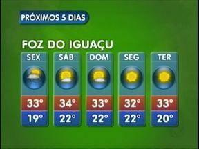 Confira a previsão do tempo para Foz do Iguaçu - O tempo fica firme a partir de sábado na cidade, mas segue bastante abafado. A máxima será de 34 graus.