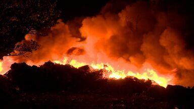 Depósito de reciclagem pega fogo em bairro de Cariacica, ES - Incêndio foi controlado na madrugada desta quinta-feira (16).Fogo consumiu materiais de papel e plástico, mas ninguém ficou ferido.