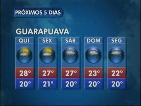 A quinta-feira tem sol e possibilidade de chuva na região de Guarapuava - As temperaturas permanecem elevadas e pode chover forte na cidade.