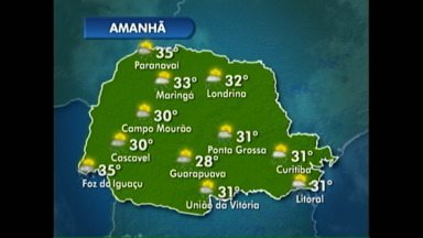 As temperaturas vão permanecer altas amanhã em todo o Paraná - Veja a previsão do tempo no mapa.