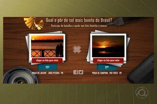 Pôr do sol da Paraíba pode ser escolhido o mais bonito do Brasil - Vote até hoje nas paisagens da Paraíba. Basta entrar no site do Fantástico: www.globo.com/fantastico. Quatro fotos paraibanas foram escolhidas entre mais de 30 mil enviadas ao programa.