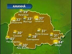 Confira a previsão do tempo para o oeste e o sudoeste do estado - As temperaturas seguem altas em todo Paraná. Amanhã as máximas chegam a 35 graus em Foz do Iguaçu e 30 em Pato Branco.