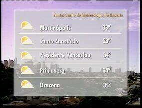 Previsão para esta quinta-feira é de altas temperaturas no Oeste Paulista - Segundo a meteorologia, sexta-feira é de céu aberto em toda região.