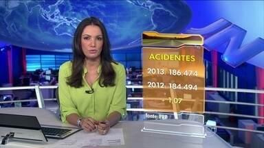 Número de acidentes em rodovias federais aumenta em 2013 - Polícia Rodoviária Federal registrou ano passado, mais de 186 mil acidentes. Um aumento de 1,07% na comparação com 2012. Números de mortos e de feridos caíram.