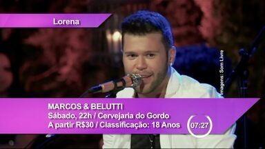 """Veja os destaques da agenda cultural para este fim de semana - Show da dupla Marcos e Belutti, que canta """"será que vai rolar"""" e """"mentirosa"""", é uma das atrações em Lorena."""
