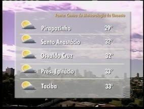 Meteorologia prevê pancadas de chuva a qualquer hora desta sexta-feira - Veja como ficam os termômetros em alguns municípios do Oeste Paulista.