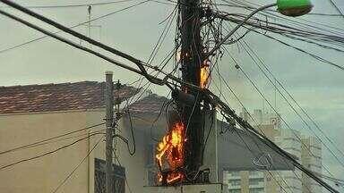 Incêndio é controlado em transformador de energia em bairro de Cuiabá - Um incêndio foi controlado em transformador de energia em bairro de Cuiabá.