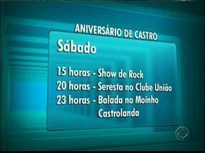 Programação do aniversário de Castro começa neste sábado - A maior parte da programação será de graça, no Parque Lacustre. Confira.