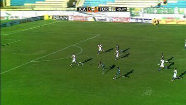 Que chute de Fábio Lima! Quase o primeiro do Icasa - Fábio Lima arrisca chute de longe e a bola passa perto do gol de Luís Henrique.