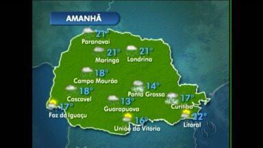 O tempo segue instável nessa sexta-feira na região de Maringá - Em Campo Mourão o sol deve aparecer no sábado