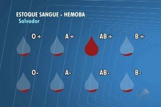 Estoque de sangue do Hemocentro de Salvador está abaixo do normal - O único tipo de sangue com estoque regular é o AB+.